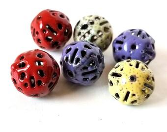 Enamel Brass Filigree Round Beads