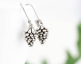 Woodland Earrings - Gift For Her - Silver Pine Cone Earrings - Charm Earrings - Rustic Jewelry - Nature Themed Jewelry - Gift For Her