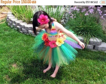 "SUMMER SALE 20% OFF Luau Birthday Party Tutu Set - Custom Sewn Grass Hula Skirt Tutu and Headband for Girls - Leilani - 15"" pixie tutu - Hib"