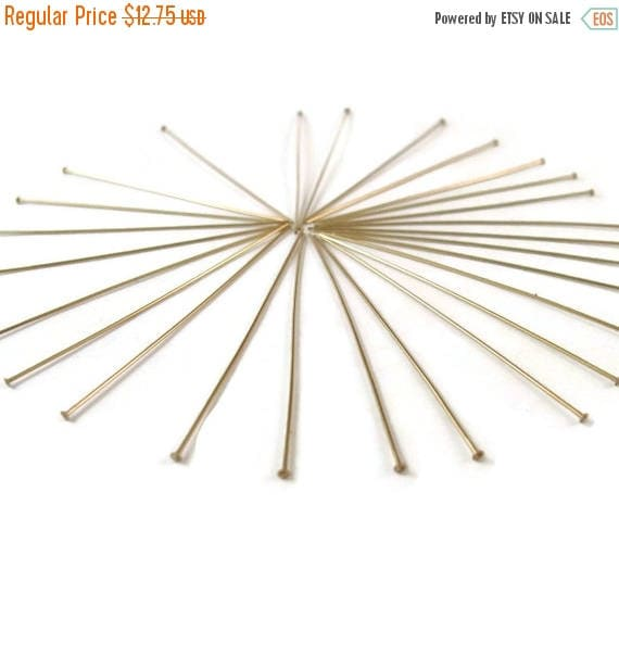 Summer SALEabration - Thin Gold Headpins, 25 Gold Filled Headpins, 2 Inch, 24 Gauge, Gold Findings, Earring and Jewelry Supplies (F-404f)
