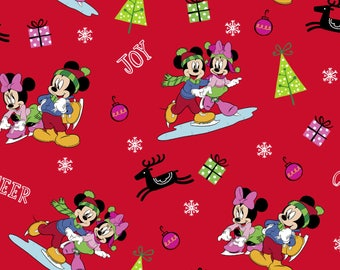 Mickey Mouse and Friends at Home, Christmas fun on Red fabric, 1 Yard