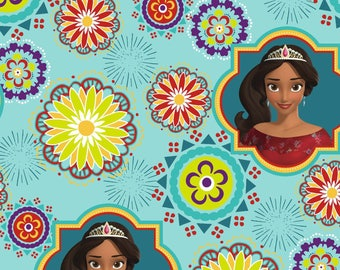 "Disney Fabric- Elena of Avalor - ""Ready to rule"" on blue, 1 yard"