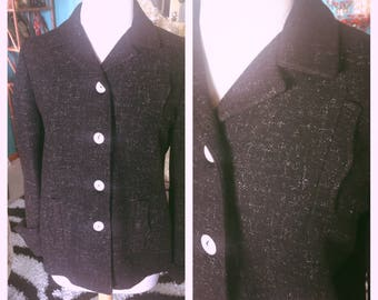 Vintage 1940s Blazer Suit Jacket tweed black L XL Swing Rockabilly 40s 1950s 50s Costume