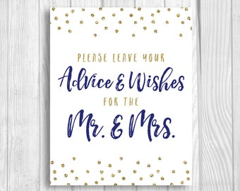 Printable Please Leave Your Advice and Wishes for Mr. & Mrs. 8x10 Wedding, Bridal Shower Guest Book Sign Navy  Blue Gold Glitter Polka Dots