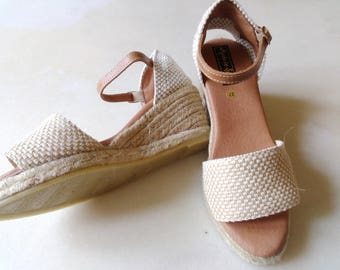 7 cm wedge espadrilles - E3 jute & leather - natural - EU sizes 35 to 41