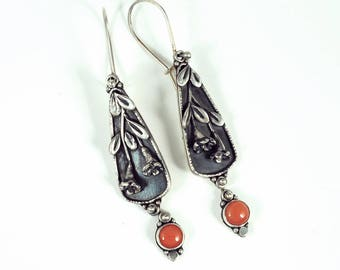 Coral Trumpet Vine Earrings - Sterling Silver Floral Earrings with Salmon Coral Drops