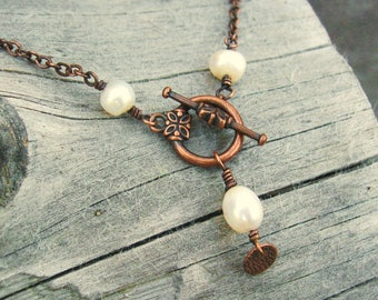 White Freshwater Pearls Lariat necklace - with antiqued copper