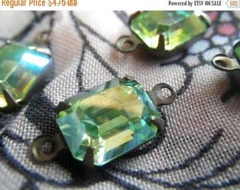 SALE 30% Off Swarovski Vintage Peridot AB 10x8mm Glass Octagon Brass Ox Connectors 4 Pcs