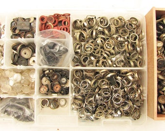 Lot of Typewriter Key Parts - Rings, Glass, Cups, Gaskets for Repair, Jewelry Making or Altered Art