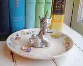 Silver Unicorn Ring Dish / Jewelry Plate - Upcycled Vintage Figurine & Franciscan Woodlore Merry Mushroom Ring Plate / Jewelry Storage Gift