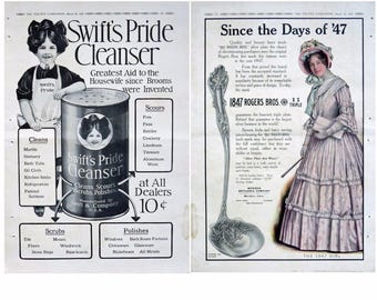 "1910 Swift's Pride Cleanser AD & 1847 Rogers Bros 16 1/2"" x 11 1/4"" - 2-SIDED"