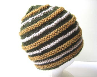 green and gold wool knit cap