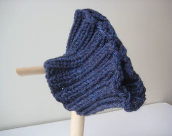 blue knit headband cowl