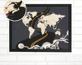 Push Pin Map, Personalized Motorcycle Adventures Push Pin Travel Map, Customized World Pushpin Map Art