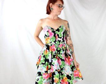 1980's Strapless Party Dress in Tropical Fiesta . Tulle Ballet Skirt Poof . Bright Colors and Fun . Sweetheart Bodice . Lace Boning Support