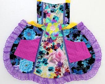 Pretty Purple Collage Apron, toddler apron, girls apron