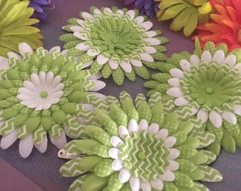 Lime and White Flower Hair Clip