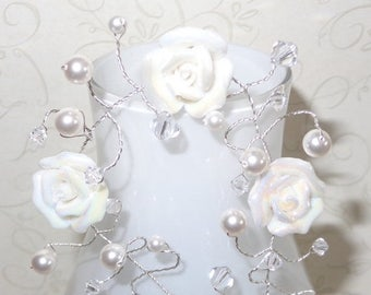 ON SALE 20% OFF White Rose Hairvine Bridal Wedding Hair Vine Accessory Tiara Crown White Roses Pearls Swarovski Crystals