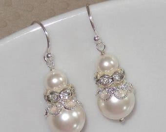 20% OFF Swarovski Crystal and Pearl Bridal Earrings