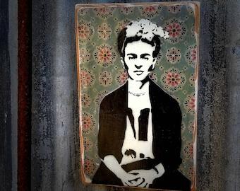 Frida Mixed Media Graffiti Art Painting on Photo Transfer Original Art on Handmade Canvas Home Decor Pop Art Gallery Frida Kahlo