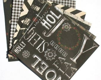 50% OFF - Black - 6x6 Recollections Sleigh Bells Ring Scrapbooking Paper Pack