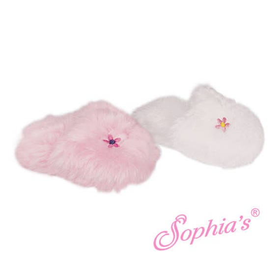 Embroidered Fuzzy Slippers - 18 Inch Doll Shoes
