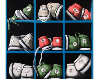 Time to Bowl - Bowling shoes original realistic still life painting