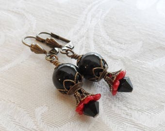 75% Off Clearance Sale, Lily Blossom Earrings, Vintage Beads, Black and Red