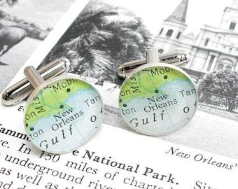 SUMMER SALE New Orleans Vintage Map Sterling Silver Round Cufflinks.
