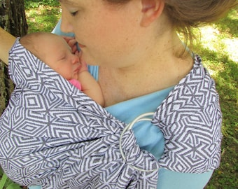 WCRS, Wrap Conversion Ring Sling Baby Carrier -  Newborn, Toddler Sling, Woven, Sling, Black Cube, Stripes, Pleated Shoulder - DVD included