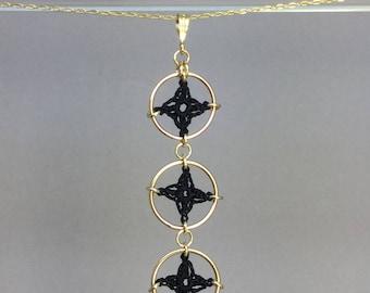 Spangles, black silk necklace, 14K gold-filled