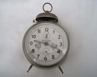 Vintage clock Vintage German Wind up Clock Chrome clock Alarm Clock wind up 'Alarm Clock Mid Century Clock 50's clock