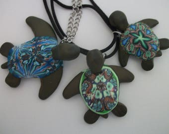 Turtle Pendant Necklace Polymer Clay