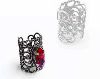 RED Midi Ring Silver Knuckle Ring Filigree Gothic Ring Victorian Ring red Swarovski Crystal Ring Gothic Jewelry