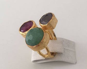 Triple Gold plated   Jade, Ruby ring