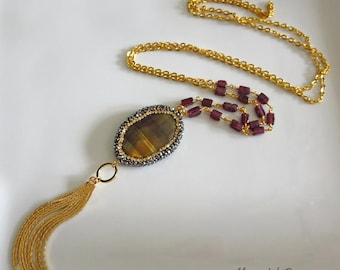 "32"" Tigereye-Garnet-Crystals-Tassel-One of a Kind-Contemporary Long Layering Tassel Gold Fill Necklace"