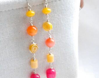 Long Dangle Earrings, Pink Orange Yellow Earrings, Neon Jewelry, Statement Earrings, Funky Colorful Earrings, Summer Jewelry, Lucite Earring