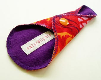 "6"" Cotton Thong Panty Liner, Purple Pink Orange Bird Pineapple, Cloth Menstrual Pad Cloth Panty Liner Reusable San Pro, Menstrual Cup Backup"