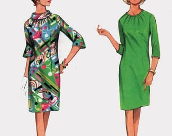 Vintage 1960s Sheath Dress w/ Fitted shirred neckline Sewing Pattern Butterick 4312 MOD MAD MEN 60s pattern Size 12 Bust 32