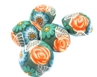 Polymer Clay Lentil Beads,  Colorful Flowers, 5 Pieces