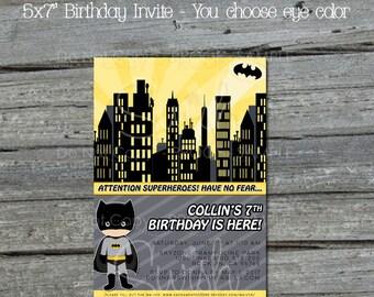 Batman Birthday Invitation    Bat man Birthday Invite   Superhero Party   Superheroes Decorations   Digital Download   Printable Invite