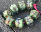 Borosilicate Beads Blue and Minty Green Lampwork Beads