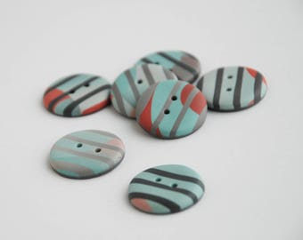 22 mm multicolored striped handmade Buttons, Set of 7, Green gray red colors