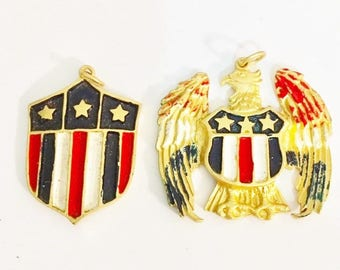 1940s Vintage Machine Medallions  One Crest and One Eagle in the Purchase  Patriotic Medals Once Sold Through Vending Machines