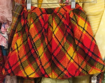 60s Plaid Skirt 6X