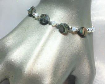 Paua Shell White Opal Crystal Bracelet #549