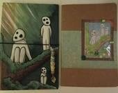 Kodama travelers notebook  midori fauxbonichi hobonichi planner upcycled hardcover book with insert Japanese forest spirit anime cartoon