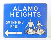 Vintage Swimming Sign, Alamo Height Swimming Pool, Texas