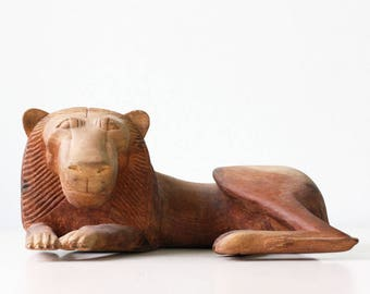 Vintage Modern Lion Sculpture, Modernist, Wooden Hand Carved Lion