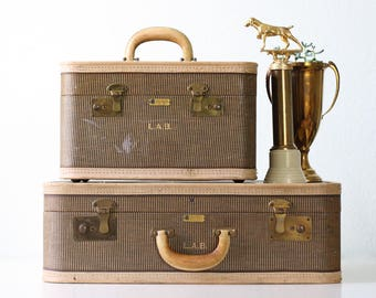 Vintage LAB Suitcases, Dresner, Striped Train Case and Suitcase Luggage Set, Monogrammed LAB